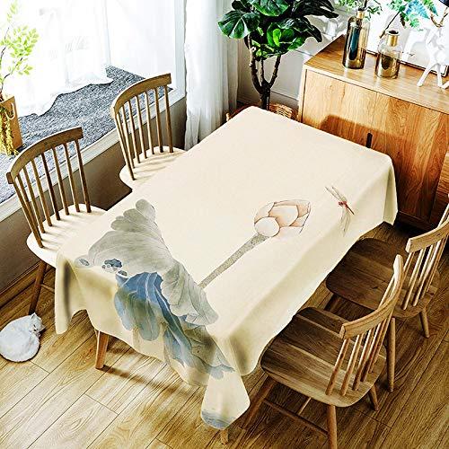 XXDD Mantel de Pavo Real Rico en 3D Patrón Creativo de Loto y jarrón Cómodo Mantel Impermeable para niños A6 140x200cm