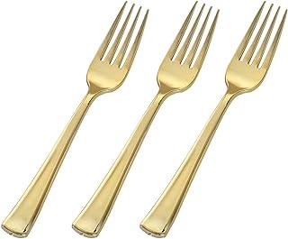 Pulido Oro Plástico Pesado cubiertos Combo Pack 24/Unidades (8tenedores, 8cuchillos, 8cucharas)