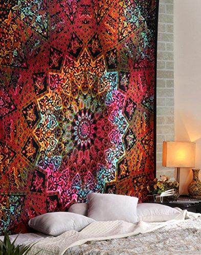 Tie Dye Kaleidoskopischer Stern und Elefant Druck Hippie Tapisserie, Wandbehang, Mandala Strand Tapisserie, Überwurf, Bohemian Boho Indische Tagesdecke,