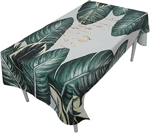 WERLM Tableau Moderne Minimaliste Tissus Tissu Coton Lin Petites Filles Frais Grille rectangulaire Rouge Coeur Plateau-Feuilles sur des nappes Blanches,140  220cm