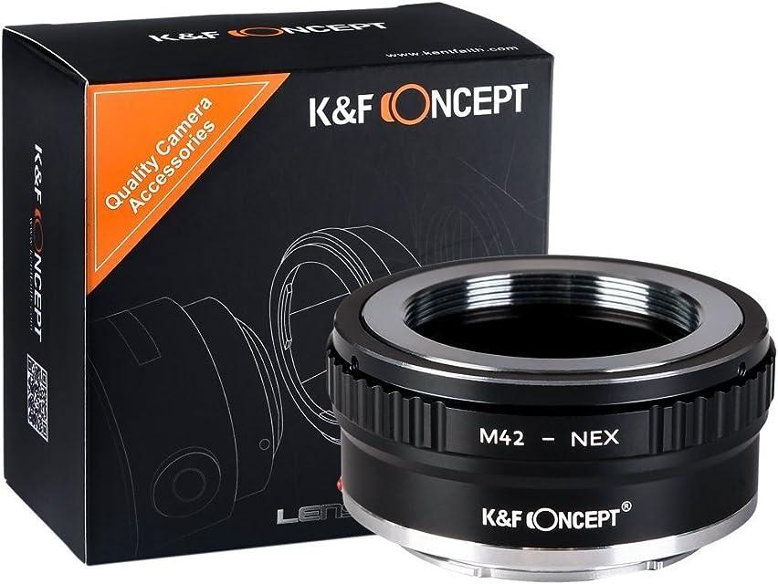 K&F Concept M42 Adaptador ∙Compatible con Cámara Sony E-Mount (NEX/Alpha) ∙ Adaptador para Lente M42