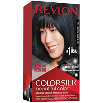 Revlon Colorsilk Beautiful Color, Permanent Hair Dye with Keratin, 100% Gray Coverage, Ammonia Free, 12 Natural Blue Black