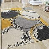 Alfombra Salón Motivo Moderna Pelo Corto Círculos Abstracta Amarillo Gris Blanco, tamaño:120x170 cm