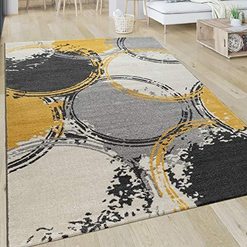 Paco Home Tapis Salon Motif Moderne Poils Ras Abstrait Cercles Jaune Gris Blanc, Dimension:120x170 cm