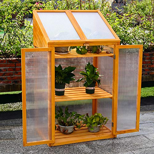 DKIEI 3-tier Wooden Cold Frame Mini Greenhouse Flower Vegetable Planting Storage Shelves for Patio Balcony Backyard