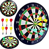 GadgetZone Magnetic Beginner's Dart Board Dartboard, Complete Set With 6 Darts Fun Christmas Party Game Toy Play set Adults Or Kids Children's Target Game. Ideal (White)
