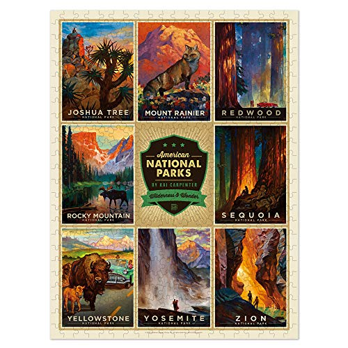 Americanflat 500 Piece National Parks Jigsaw Puzzle 18x24 Inches by Anderson Design Group