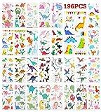Zooawa [28 PZS Pegatinas de Tatuajes Temporales de Dinosaurios para Niños, Anti-Sudor Tatuajes Extraíbles de Tintas Impermeable No Tóxico y Seguras para Fiestas y Juegos - Multicolor