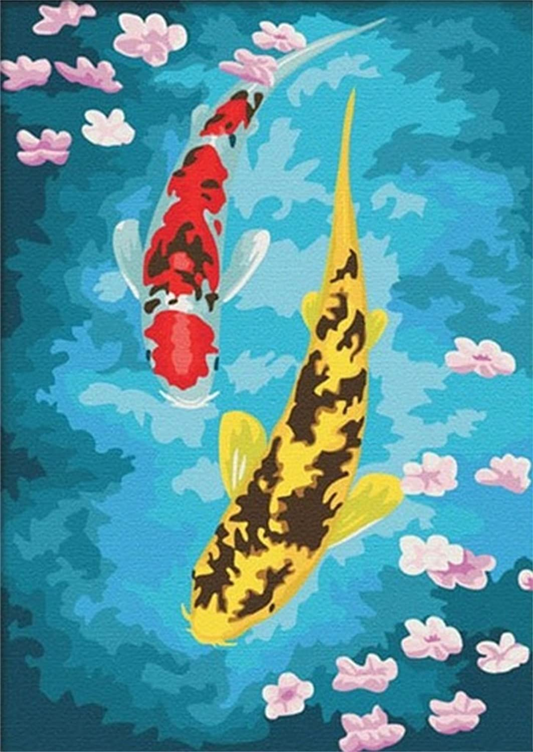 Diy Oil Painting, Paint By Number Kits -Flower Fish, 16X20 Inch