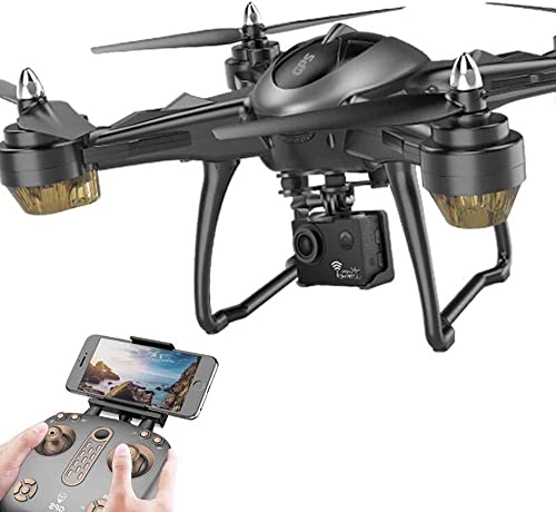 RC Drone mit Adjustable Wide-Angle 1080P HD WiFi Camera Live Video und GPS Return Home Quadcopter-Follow Me, Altitude Hold,1080P