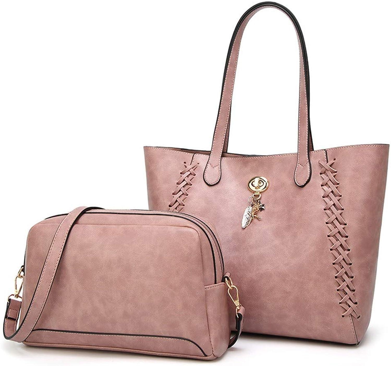 NZZNB Fashion Oil-Coated Wax Leather Metal Feather Dinosaur Pendant Handbag Classic Retro Large Capacity Shoulder Bag Satchel Tote Purse 2Pcs Top-Handle Handbags