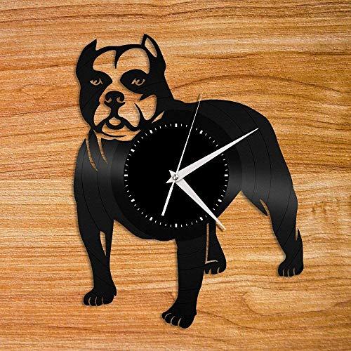 Rolex (Rox) Reloj de Pared Pitbull Disco de Vinilo Reloj de Pared Decoración Animal Perro Decoración del hogar Diseño Retro Oficina Bar Habitación Decoración del hogar