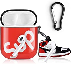 Solpuo AirPods Case, Cool Sports-Style Airpod Case Cover Compatible with Apple AirPods 2 & 1, Come with Anti-Lost Carabiner (Red)