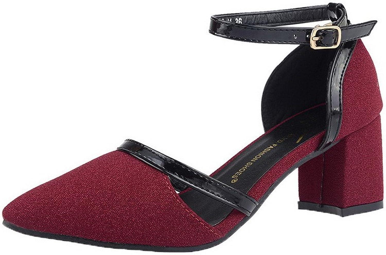 WeiPoot Women's Buckle Low-Heels Blend Materials Assorted color Sandals