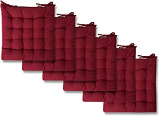 Sweet Home Collection Chair Cushion Seat Pads Indoor/Outdoor Printed Tufted Design Soft and Comfortable Covers for Dining Rooms Patio with Ties for Non Slip, 6 Pack, Burgundy Red 6 Pack