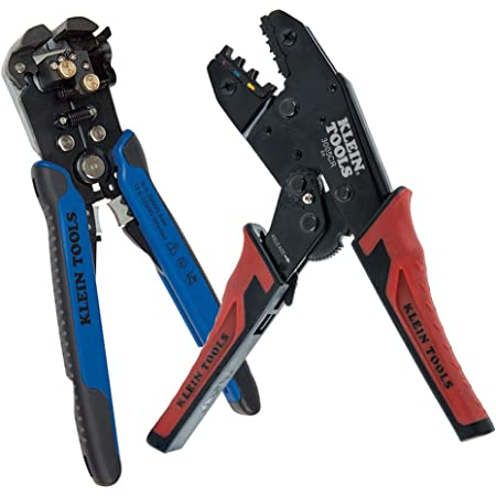 Klein Tools 80013 Wiring Tool Kit with Automatic Wire Stripper and Ratcheting Crimper, Great Electrical Tool Kit, 2-Piece