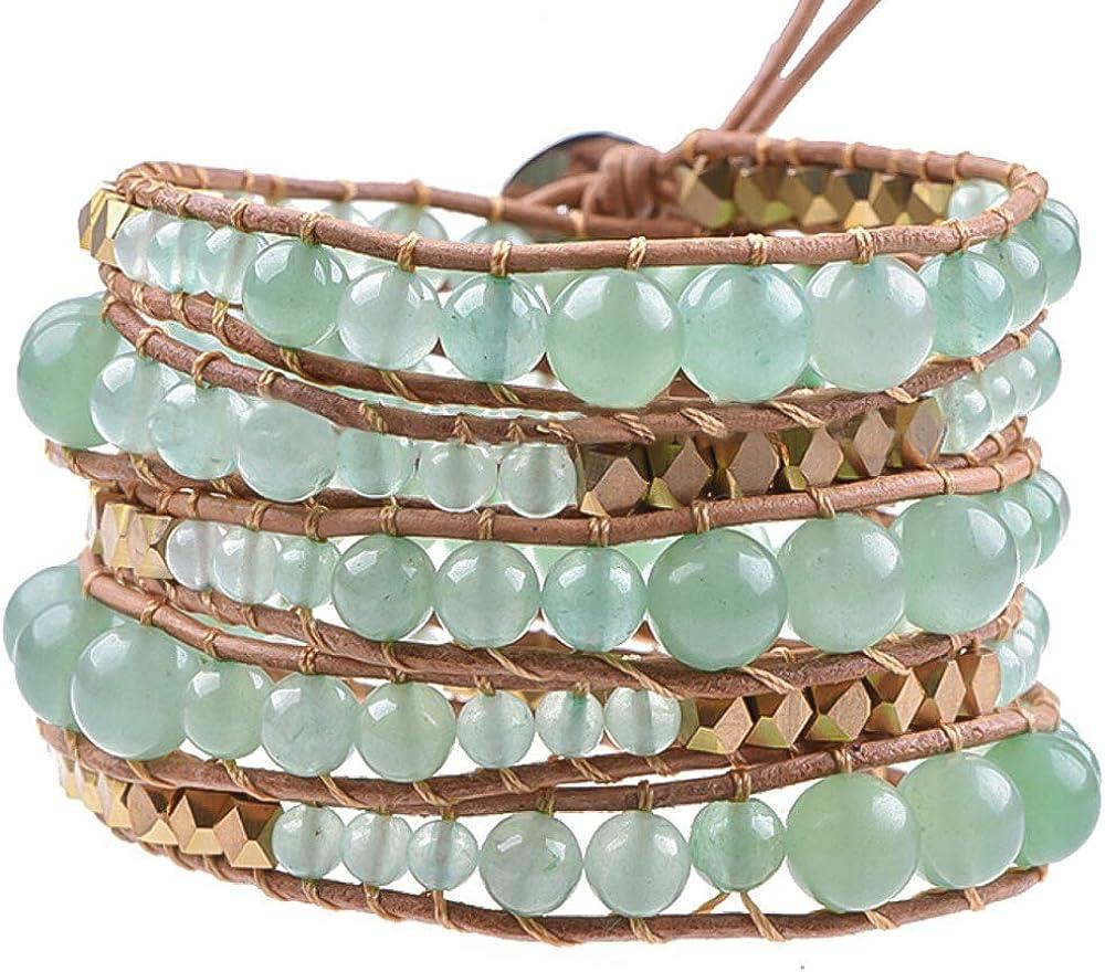 Globi Natural Stone Wrap Bracelet For Women/Men | Adjustable Mul