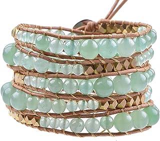 Globi Natural Stone Wrap Bracelet For Women/Men   Adjustable Multilayer Genuine Leather Boho Handmade Beaded Bracelet