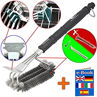 Premium BBQ Grill Brush - 100% stainless steel - keeps your iron, steel and porcelain barbecue smoker grates hygienic, clean and safe! Rain-proof, snow-proof, dishwasher safe, food-safe, bristles won't come out and will NEVER go rusty!