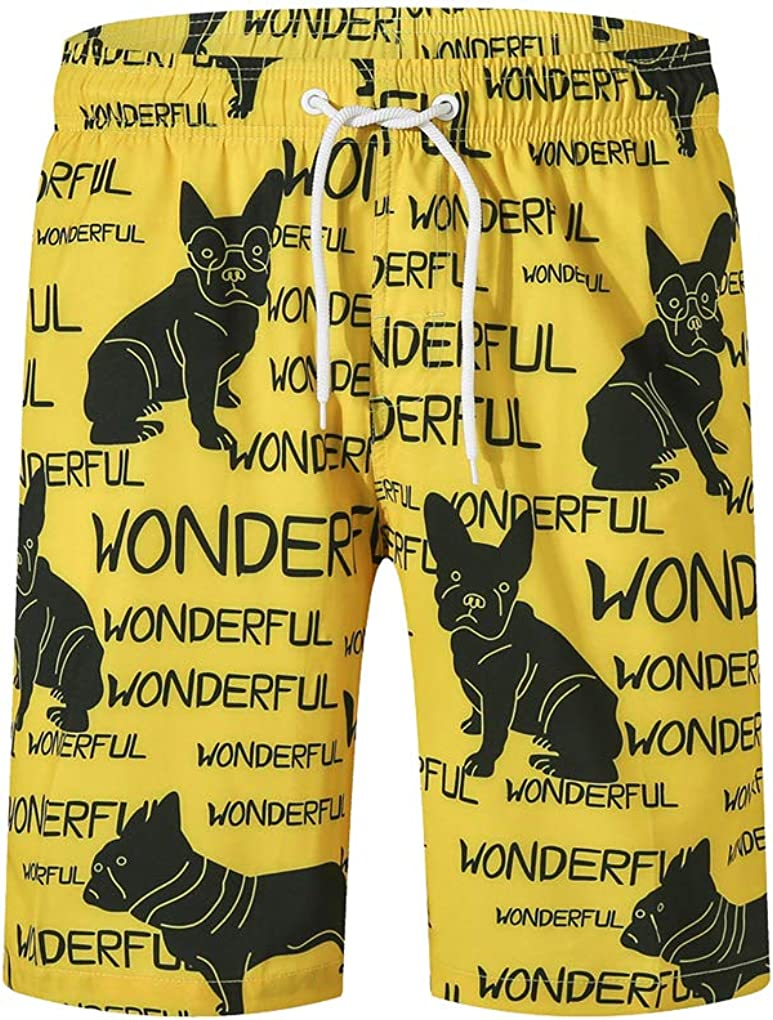 Xrknofio Mens Bulldogs Swim Trunks Quick Dry Beach Surf Board Shorts with Mesh Lining