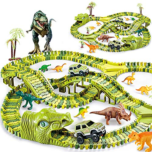 KO-ON Dinosaur Toys for Kids Create Your Own Dinosaur World Race Track, 280 Pieces Flexible Race Tracks with 2 Off-Road Cars for Boys Girls Age 3 and Up