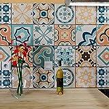 Ze Flair - Stickers Cuisine et Salle de Bain, Carrelage adhésif Mural, Imitation Faïence, Carreaux de Ciment 20cm x 20cm - 15 pièces - Vert Orange Bleu