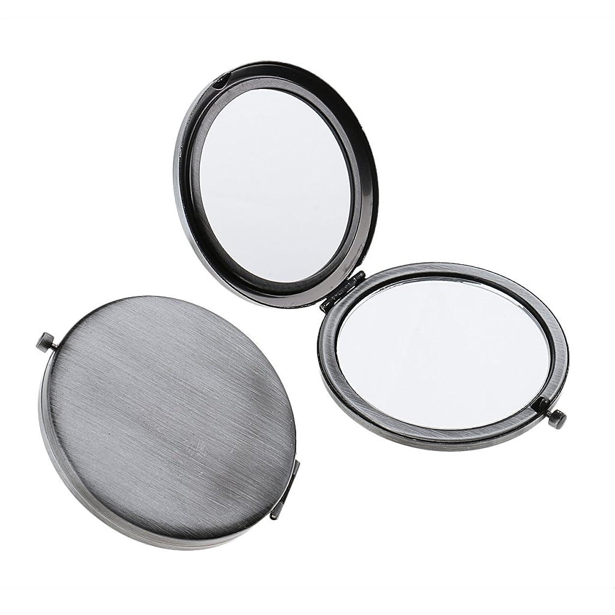 T TOOYFUL ミニ手鏡 両面コンパクトミラー ステンレス 折りたたみ式 ハンドミラー 携帯ミラー 2個入り - クラシックシルバー