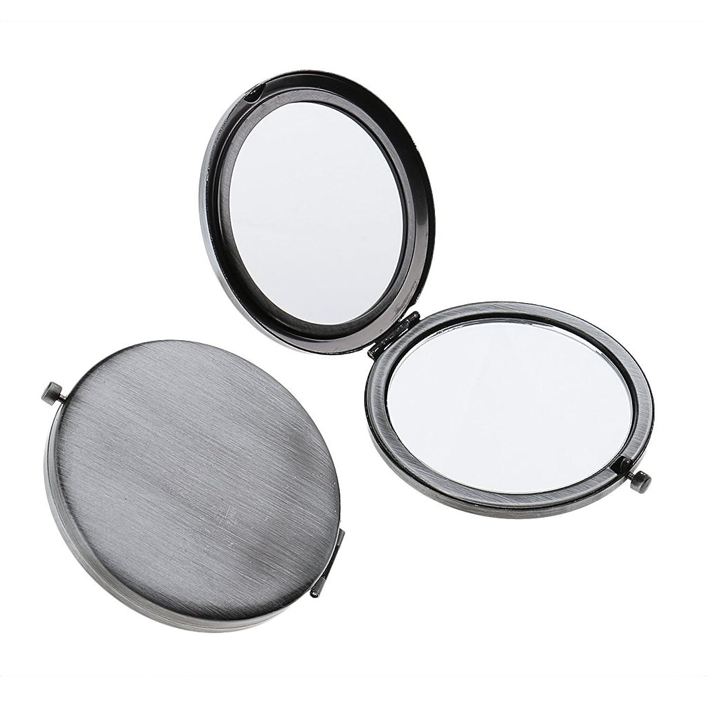 レンジ手荷物液化するT TOOYFUL ミニ手鏡 両面コンパクトミラー ステンレス 折りたたみ式 ハンドミラー 携帯ミラー 2個入り - クラシックシルバー