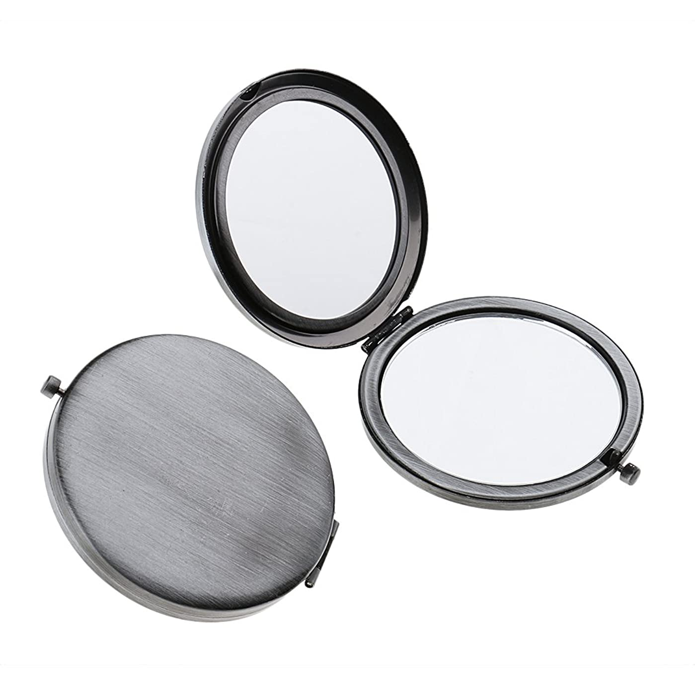 ロケーションテキストばかげているT TOOYFUL ミニ手鏡 両面コンパクトミラー ステンレス 折りたたみ式 ハンドミラー 携帯ミラー 2個入り - クラシックシルバー