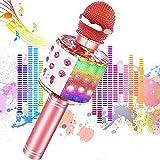 Microfono Karaoke Bluetooth, JoyKing Wireless Bambini Palmare Portatile Karaoke Microfono con Altoparlante per Cantare Compatibile con Android/iOS, PC o Smartphone (Oro Rosa)