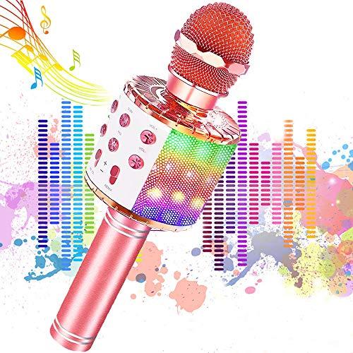 Micrófono Karaoke Bluetooth, JoyKing Microfono Inalámbrico Karaoke Niños Portátil Altavoces Microfono, LED Microfono Niños para Cantar Sonido Mágico para Phone/Android/Pad(Oro rosa)