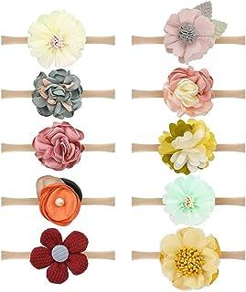 Freewalk 10 pcs Baby Girl Headband Infant Ribbon Hairband Chiffon Floral Headdress Headwear Flower Bow Lace Band Infant To...