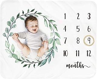 Baby Monthly Milestone Blanket Boy - Newborn Month Blanket Unisex Neutral Personalized Shower Gift Leaf Nursery Decor Phot...