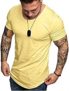 Camisetas Hombre Manga Corta SHOBDW 2020 Blusas Color Sólido Cómodo Tallas Grandes Tops Verano Camisetas Hombre Basicas Cuello Redondo Venta de liquidación M-3XL