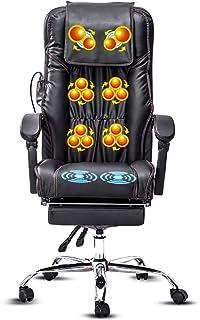 Massage Chair 3D Full Back Massager, Shiatsu Back Neck and Shoulder Massager Heated Office Massage Chair-High-Back PU Leat...