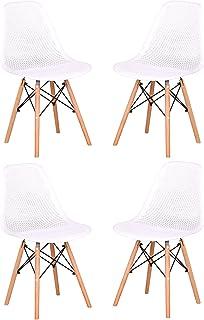 EGOONM Pack 4 Modernas Sillas de Comedor,Plástico Silla Diseño Nórdico Retro Estilo 4 Sillas (03)