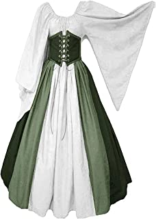 Abaowedding Women's Renaissance Medieval Costumes Dress Trumpet Sleeves Gothic Retro Gown