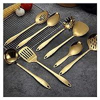 キッチンツール ツールスプーンヘラ炊飯器キッチンツールスパチュラスプーンキッチン用品調理ゴールドチタンステンレススチール 調理器具 耐熱 (Color : 5)