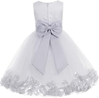 0dce17be93a ekidsbridal Wedding Pageant Flower Petals Girl White Dress with Bow Tie Sash  302a
