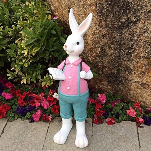 BAODI Esculturas y estatuas de jardín de Resina Jardín Conejo Conejo Estatua de la Escultura de Resina Pintado del Paisaje del jardín de simulación Decoración Animal Linda
