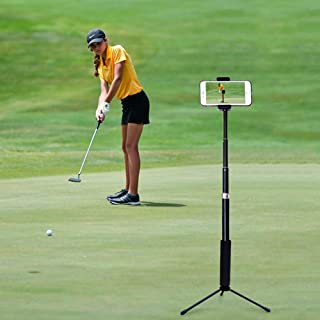 ZOEA Record Golf Swing Tripod, Extendable Golf Tripod with Phone Holder for Golf Training, Compatible with iPhone & Android Devices