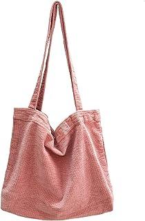 Ulisty Damen Grosse Kapazität Cord Schultertasche Retro Handtasche Mode Einkaufstasche Tragetasche Tägliche Tasche Rosa