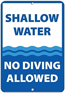 BIN SHANG Metal Aluminum Sign Shallow Water No Diving Allowed Activity Sign Pool Signs Plaque for Yard Garage Driveway House Fence