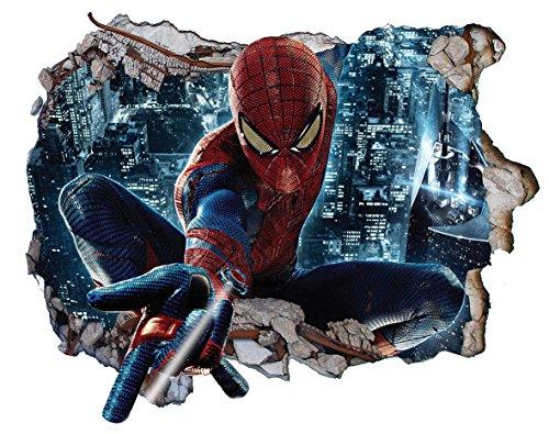 Chicbanners Spiderman Wall Crack V302 3D Wall Smash Magic Window Wall Sticker Selbstklebendes Poster Wall Art Größe 1000 mm breit x 600 mm tief (groß)