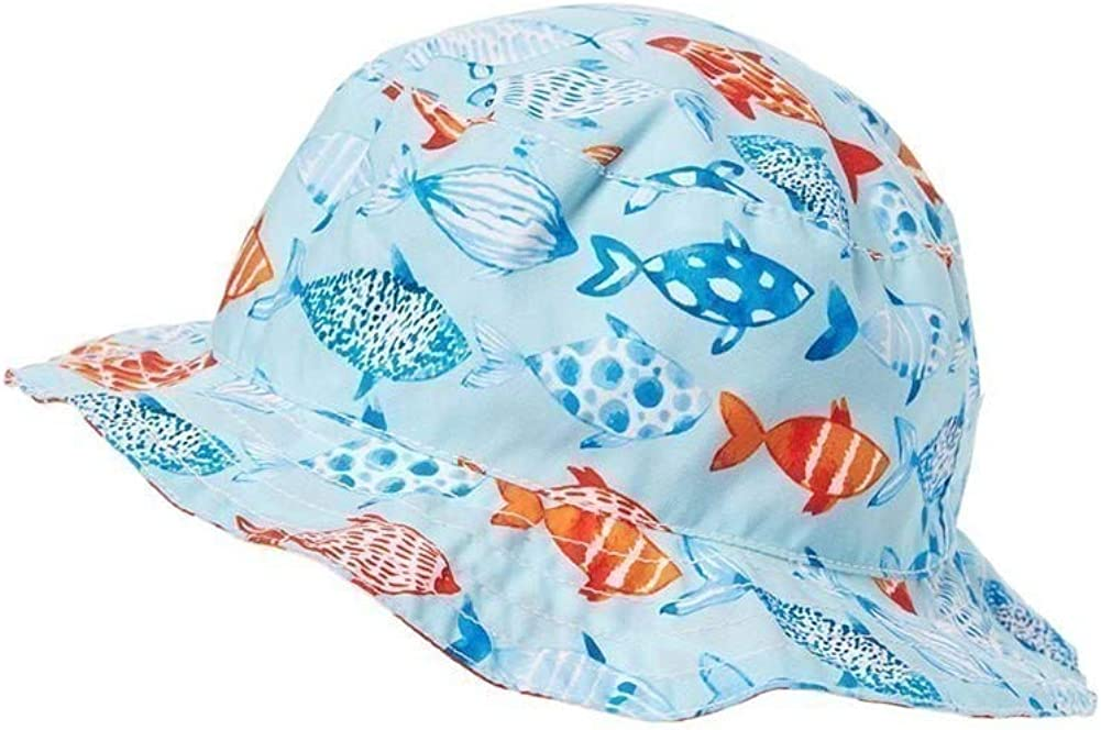 Azul Unisex Little Kids Light Blue Fish and Co. Print Reversible Sun Hat 1-2