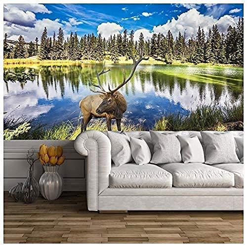 Zbzmm muurschildering Wall Art Mural sticker voor WallRed Stag fotobehang dieren Lago foto behang woonkamer slaapkamer Home Decor verkrijgbaar Gigantesco Digital_280cm(w) x180cm(h)(9'2