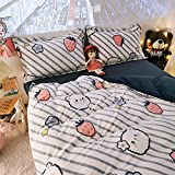 funda de edredón juvenil-Invierno de doble cara de terciopelo de leche cómoda ropa de cama reversible hoja de franela funda de edredón funda de almohada regalo de hotel familiar-X_Cama de 2,0 m (4 pi