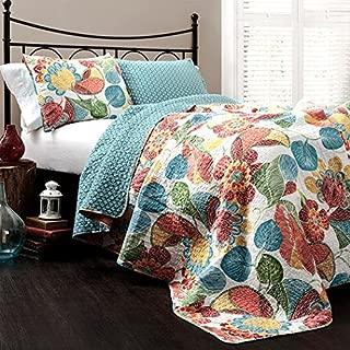 Bungalow Rose Micha 3-Piece Floral Pattern Reversible Coverlet Quilt Set Includes 1 Quilt and 2 Shams, Queen Size