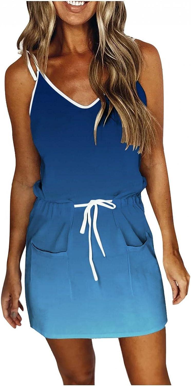 Gerichy Summer Dresses for Women, Womens Sexy Gradient Sleeveless V Neck Sundress Drawstring Mini Bodycon Workout Dress