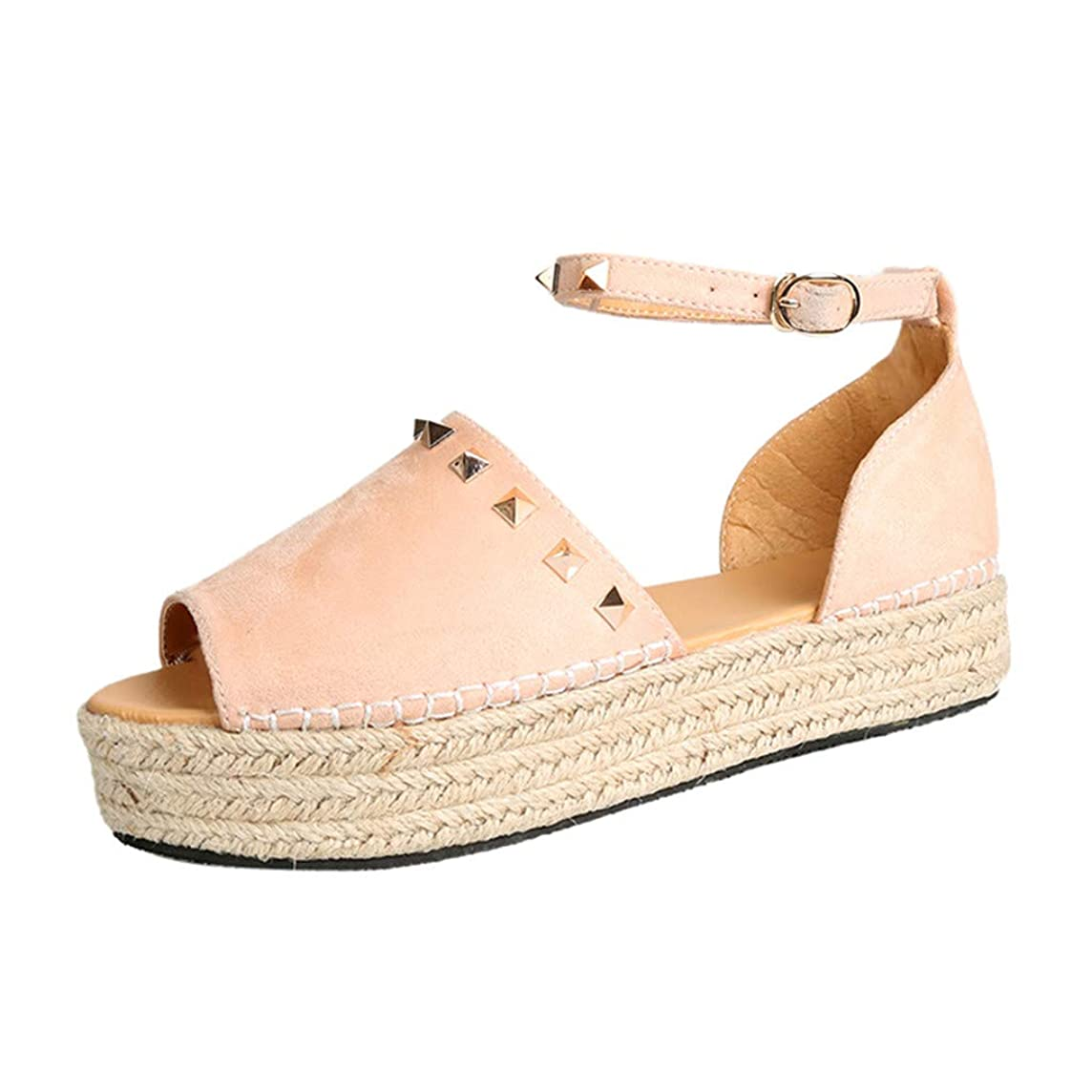 Sunhusing Womens Peep Toe Woven Rivets Embellished with Thick Bottom Wedge Sandals Office Work Roman Shoes
